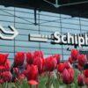 jardim de tulipas na entrada do aeroporto de amsterdam