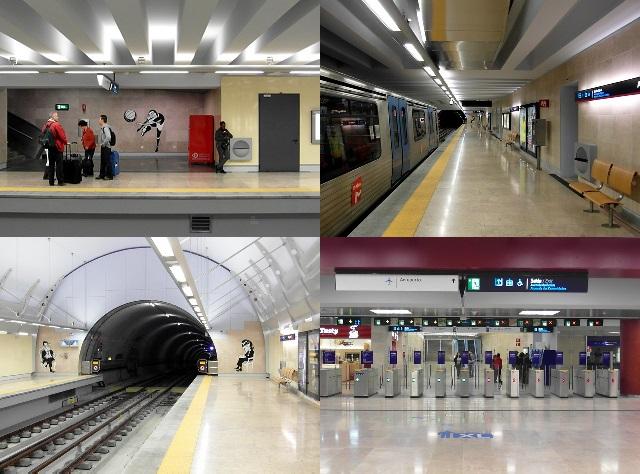 A moderna estação de metrô do Aeroporto de Lisboa