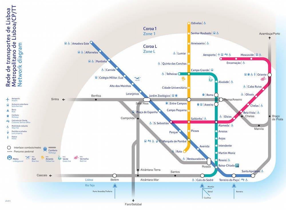 Mapa da Rede de Metrô de Lisboa
